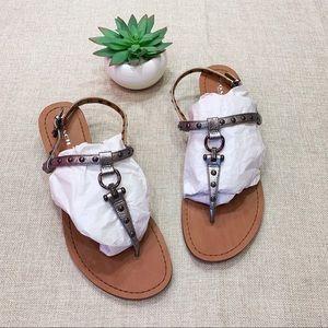 Coach Natasha Pewter Metallic Wedge Sandals